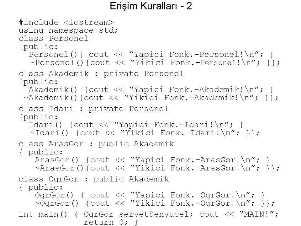 """Erişim Kuralları - 2 #include using namespace std; class Personel {public: Personel(){ cout << """"Yapici Fonk.–Personel!\n""""; } ~Personel(){cout << """"Yiki"""