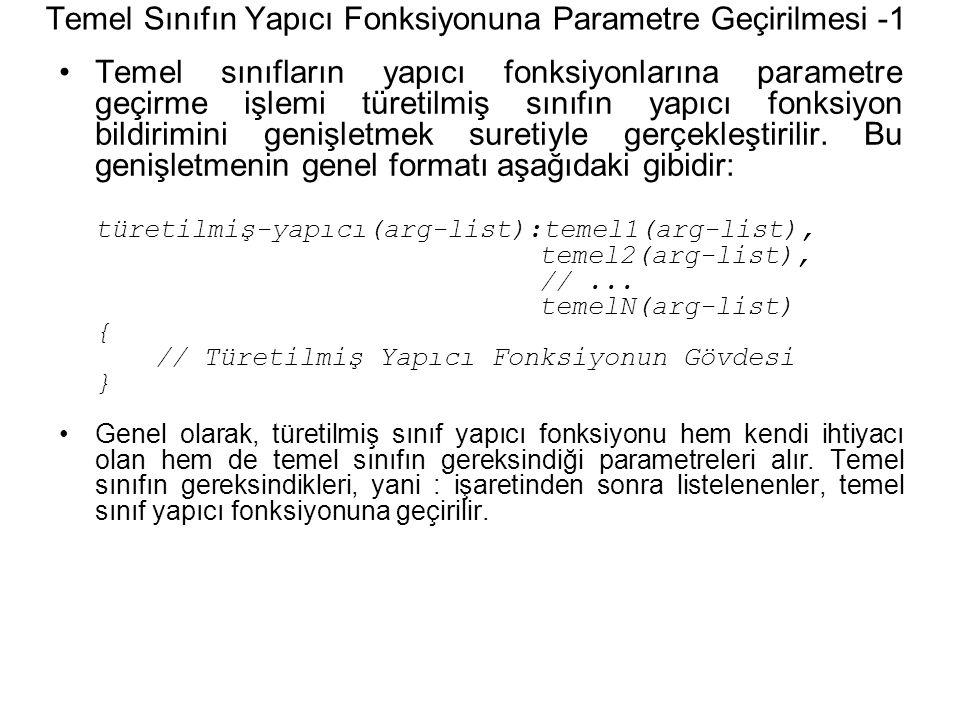 Temel Sınıfın Yapıcı Fonksiyonuna Parametre Geçirilmesi -1 Temel sınıfların yapıcı fonksiyonlarına parametre geçirme işlemi türetilmiş sınıfın yapıcı