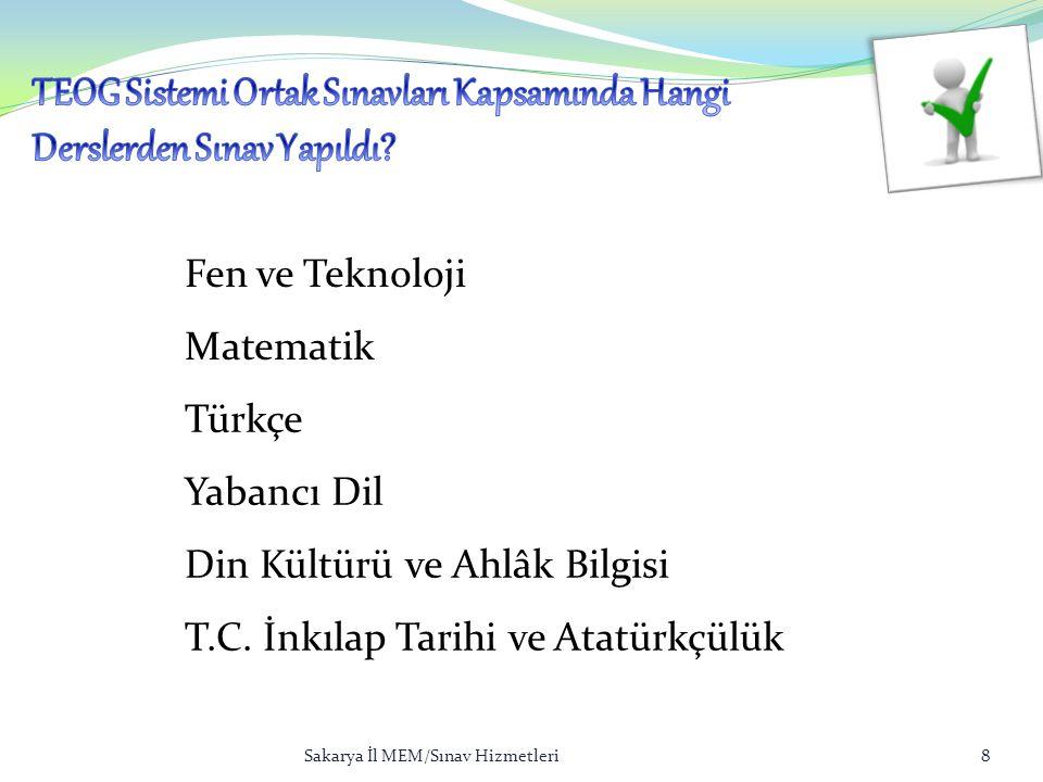 Fen ve Teknoloji Matematik Türkçe Yabancı Dil Din Kültürü ve Ahlâk Bilgisi T.C. İnkılap Tarihi ve Atatürkçülük Sakarya İl MEM/Sınav Hizmetleri8