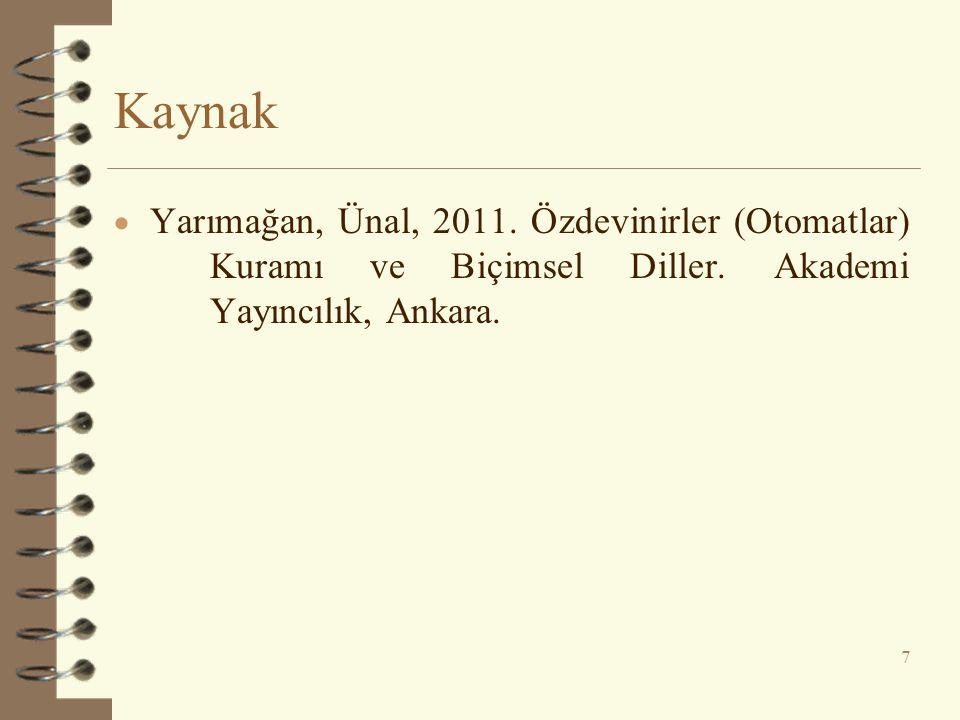 Kaynak  Yarımağan, Ünal, 2011.Özdevinirler (Otomatlar) Kuramı ve Biçimsel Diller.