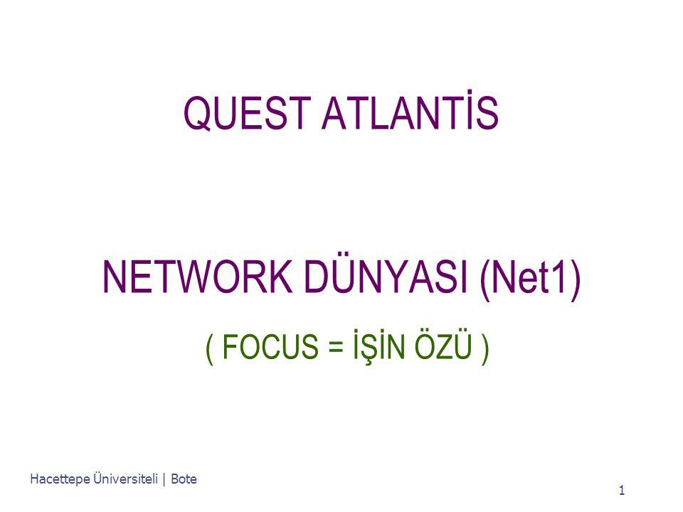 Hacettepe Üniversiteli | Bote 1 QUEST ATLANTİS NETWORK DÜNYASI (Net1) ( FOCUS = İŞİN ÖZÜ )