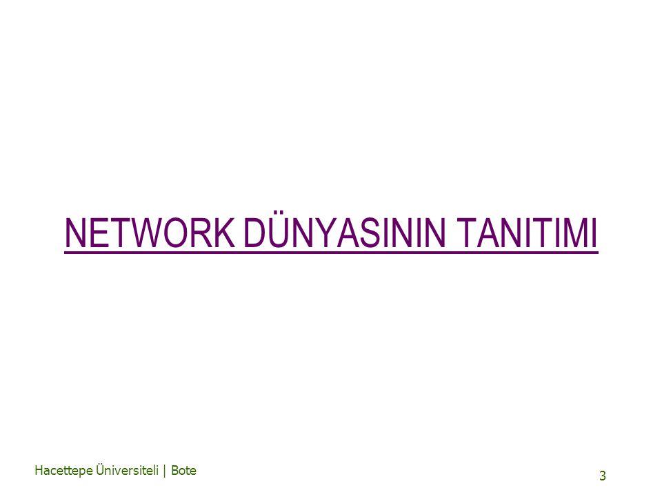 Hacettepe Üniversiteli | Bote 3 NETWORK DÜNYASININ TANITIMI