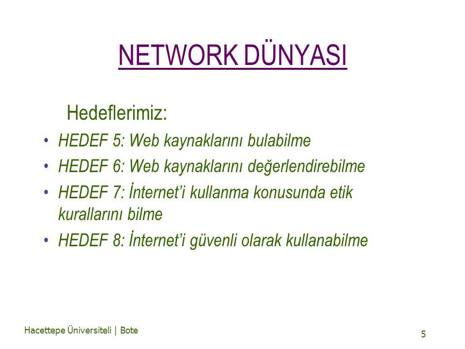 Hacettepe Üniversiteli | Bote 5 NETWORK DÜNYASI Hedeflerimiz: HEDEF 5: Web kaynaklarını bulabilme HEDEF 6: Web kaynaklarını değerlendirebilme HEDEF 7: İnternet'i kullanma konusunda etik kurallarını bilme HEDEF 8: İnternet'i güvenli olarak kullanabilme