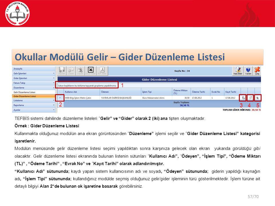 """57/70 Okullar Modülü Gelir – Gider Düzenleme Listesi TEFBİS sistemi dahilinde düzenleme listeleri """"Gelir"""" ve """"Gider"""" olarak 2 (iki) ana tipten oluşmak"""