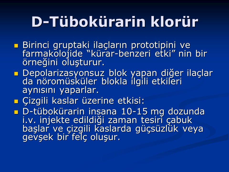 D-Tübokürarin klorür Birinci gruptaki ilaçların prototipini ve farmakolojide kürar-benzeri etki nin bir örneğini oluşturur.