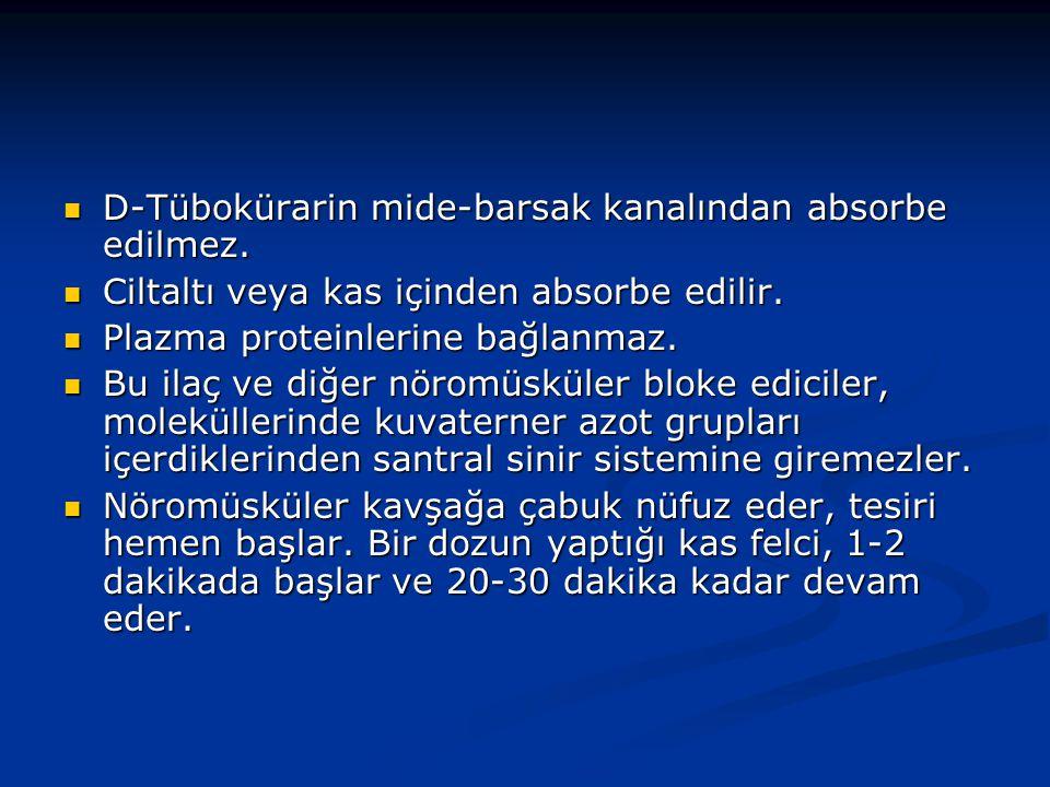 D-Tübokürarin mide-barsak kanalından absorbe edilmez.