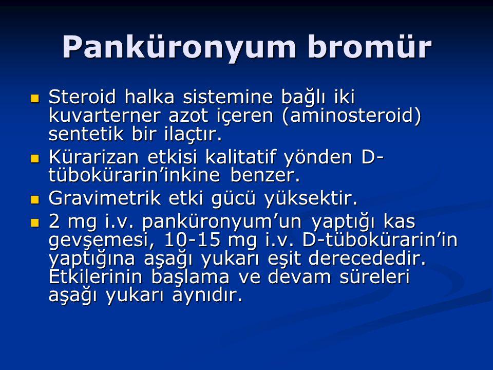 Panküronyum bromür Steroid halka sistemine bağlı iki kuvarterner azot içeren (aminosteroid) sentetik bir ilaçtır.