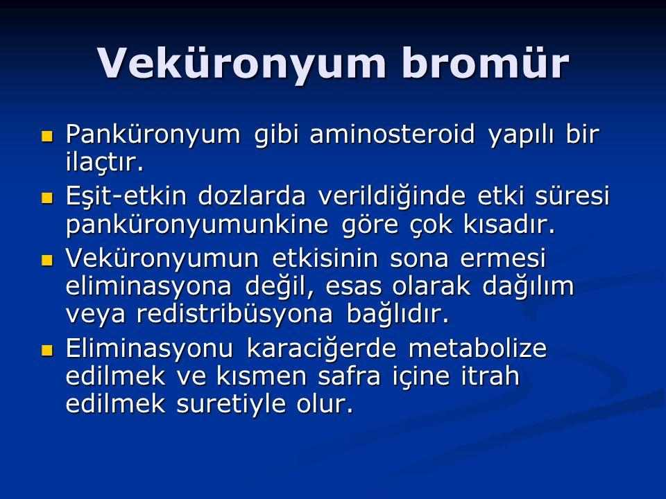 Veküronyum bromür Panküronyum gibi aminosteroid yapılı bir ilaçtır.