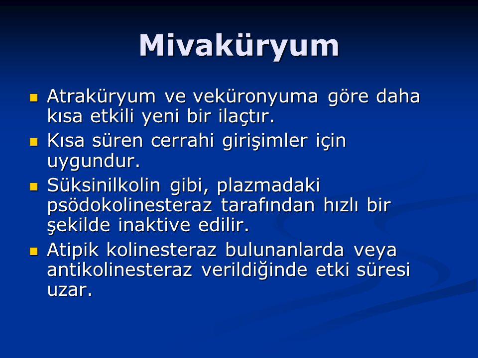 Mivaküryum Atraküryum ve veküronyuma göre daha kısa etkili yeni bir ilaçtır.