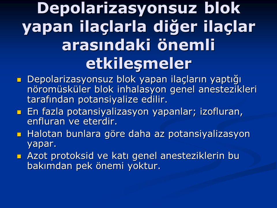 Depolarizasyonsuz blok yapan ilaçlarla diğer ilaçlar arasındaki önemli etkileşmeler Depolarizasyonsuz blok yapan ilaçların yaptığı nöromüsküler blok inhalasyon genel anestezikleri tarafından potansiyalize edilir.