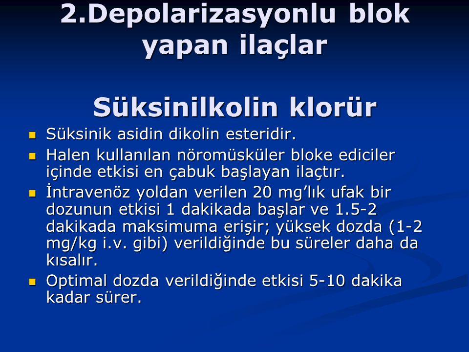 2.Depolarizasyonlu blok yapan ilaçlar Süksinilkolin klorür Süksinik asidin dikolin esteridir.