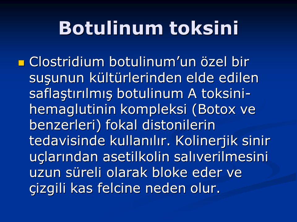Botulinum toksini Clostridium botulinum'un özel bir suşunun kültürlerinden elde edilen saflaştırılmış botulinum A toksini- hemaglutinin kompleksi (Botox ve benzerleri) fokal distonilerin tedavisinde kullanılır.
