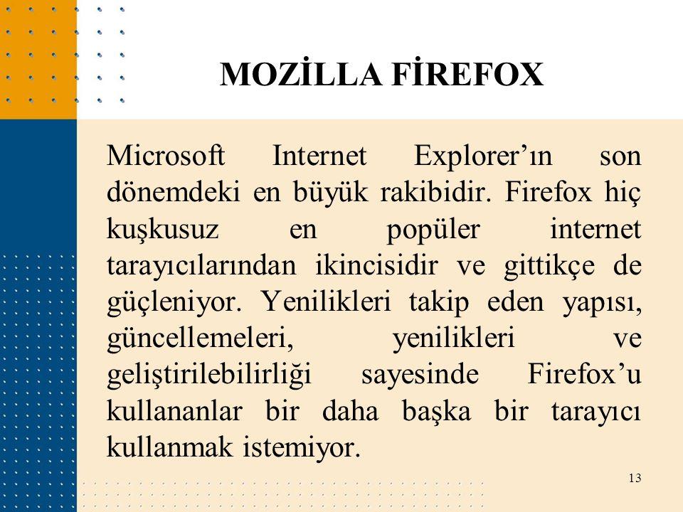 Microsoft Internet Explorer'ın son dönemdeki en büyük rakibidir. Firefox hiç kuşkusuz en popüler internet tarayıcılarından ikincisidir ve gittikçe de