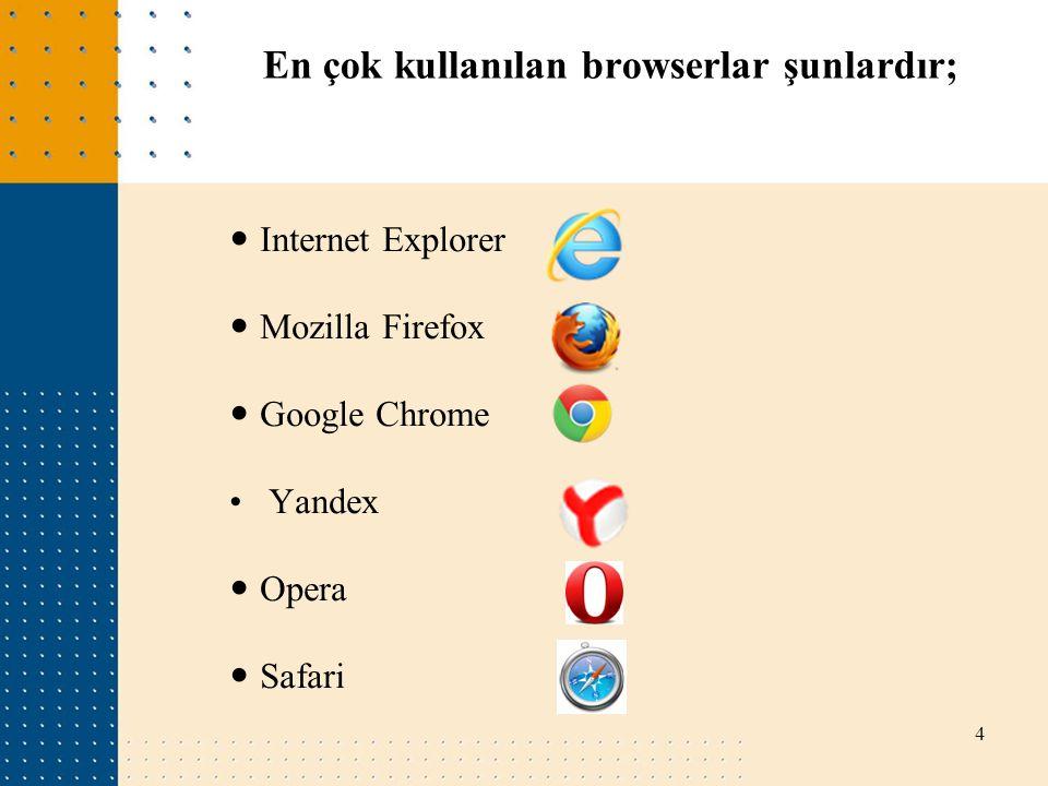 En çok kullanılan browserlar şunlardır; Internet Explorer Mozilla Firefox Google Chrome Yandex Opera Safari 4