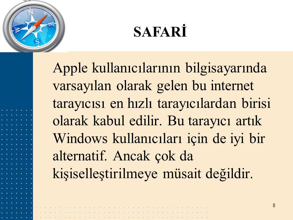 SAFARİ Apple kullanıcılarının bilgisayarında varsayılan olarak gelen bu internet tarayıcısı en hızlı tarayıcılardan birisi olarak kabul edilir. Bu tar
