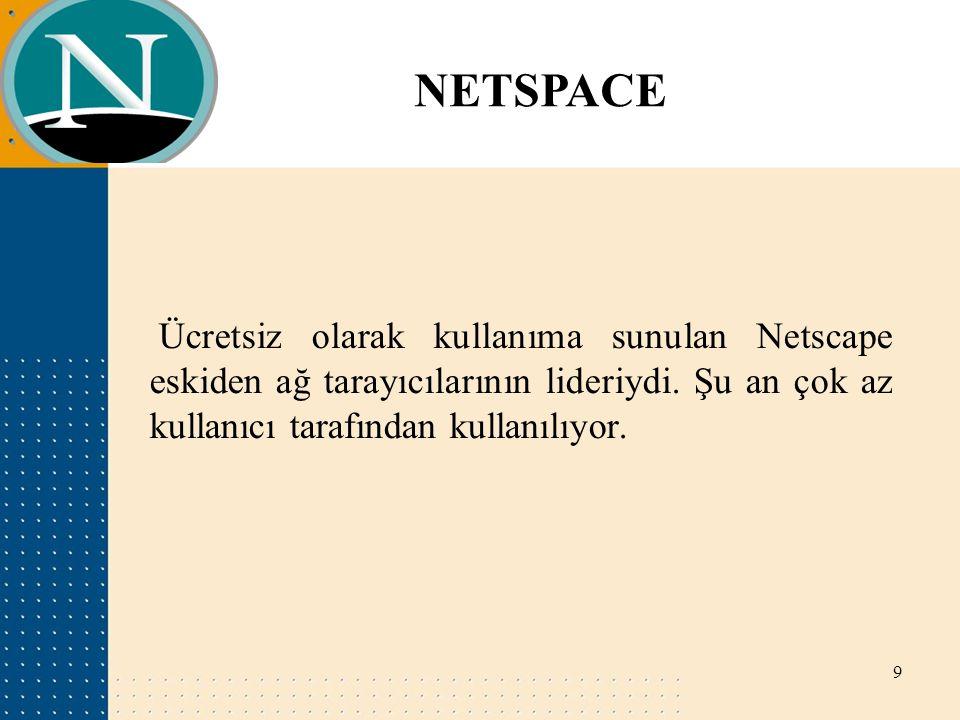 NETSPACE Ücretsiz olarak kullanıma sunulan Netscape eskiden ağ tarayıcılarının lideriydi. Şu an çok az kullanıcı tarafından kullanılıyor. 9