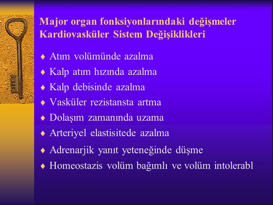 Major organ fonksiyonlarındaki değişmeler Solunum Sistemi Değişiklikleri  Akciğer elastisitesinde azalma  Göğüs kafesinde sertleşme  Alveoler septum kaybı  Residüel volüm artışı  Vital kapasite kaybını  Gaz değişim etkinliğinde azalma  Solunum işinde artma  Arteriyel PO 2 20 Y.