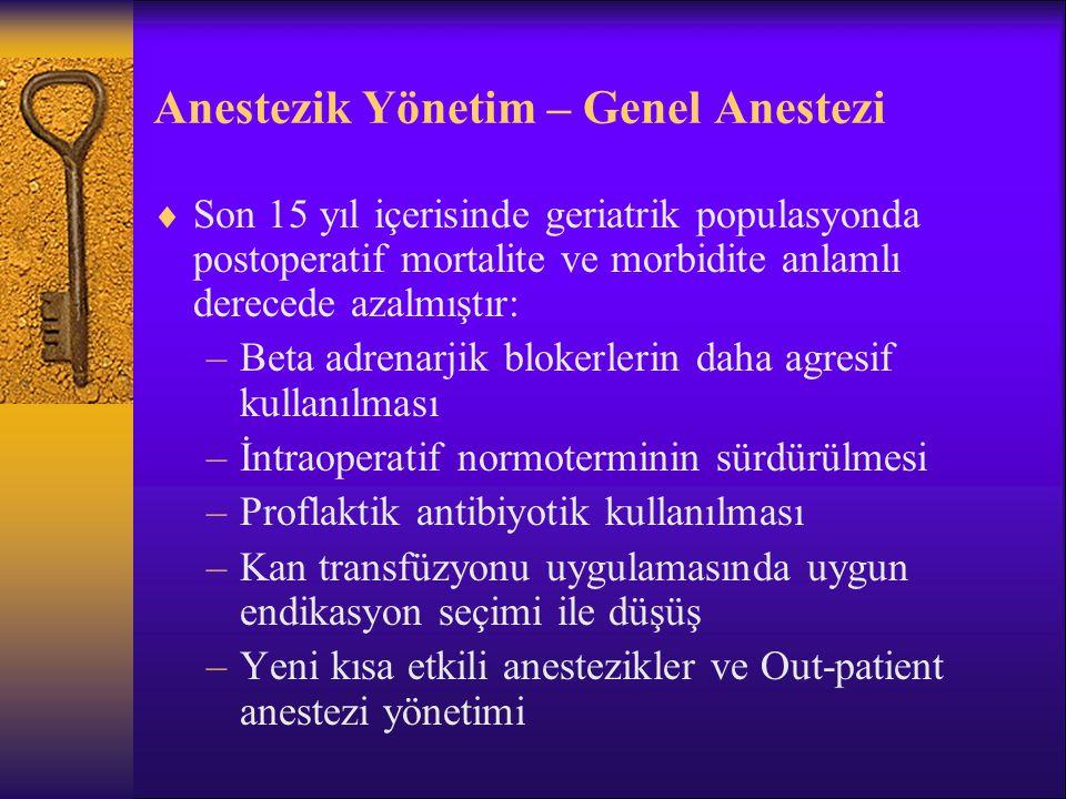 Anestezik Yönetim – Genel Anestezi Postop.