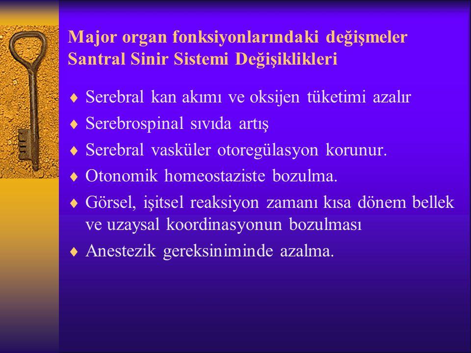 Major organ fonksiyonlarındaki değişmeler Santral Sinir Sistemi Değişiklikleri  80 Y.