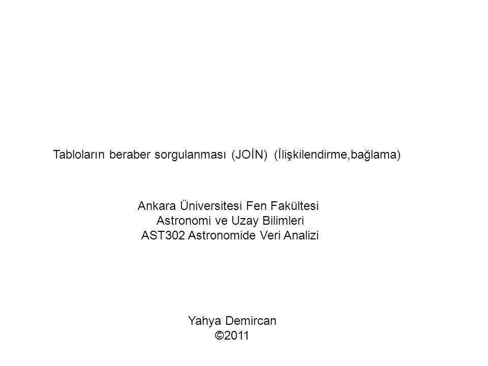 Tabloların beraber sorgulanması (JOİN) (İlişkilendirme,bağlama) Ankara Üniversitesi Fen Fakültesi Astronomi ve Uzay Bilimleri AST302 Astronomide Veri Analizi Yahya Demircan ©2011