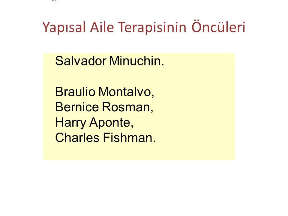 Yapısal Aile Terapisinin Öncüleri Salvador Minuchin. Braulio Montalvo, Bernice Rosman, Harry Aponte, Charles Fishman.