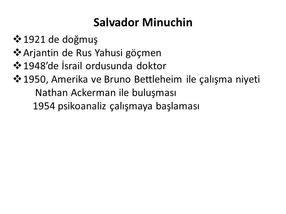 Salvador Minuchin  1921 de doğmuş  Arjantin de Rus Yahusi göçmen  1948'de İsrail ordusunda doktor  1950, Amerika ve Bruno Bettleheim ile çalışma n