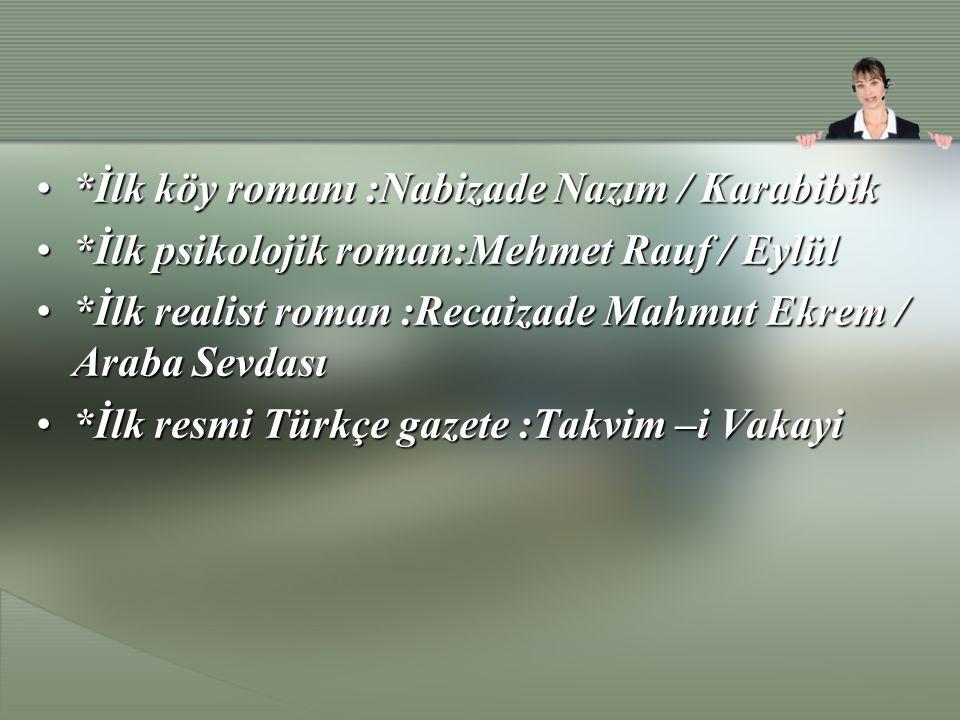 *İlk yarı resmi gazete :Ceride-i Havadis*İlk yarı resmi gazete :Ceride-i Havadis *İlk tarihi roman :Namık Kemal / Cezmi, A.