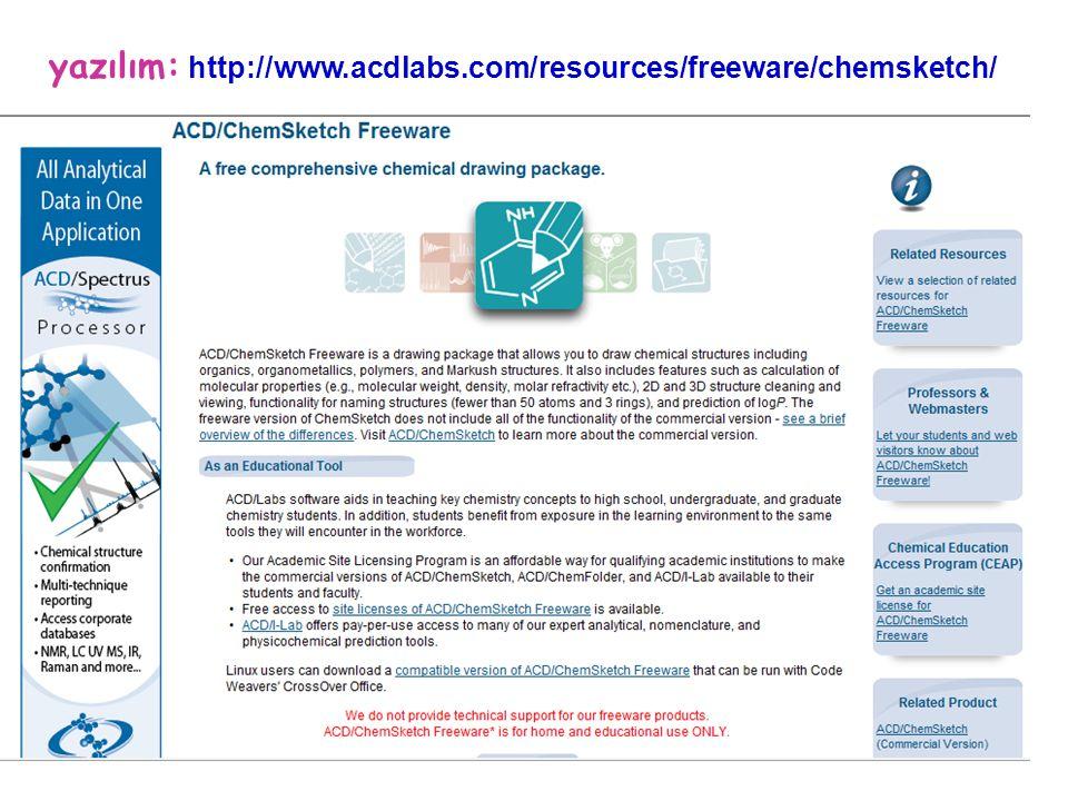 yazılım: http://www.acdlabs.com/resources/freeware/chemsketch/