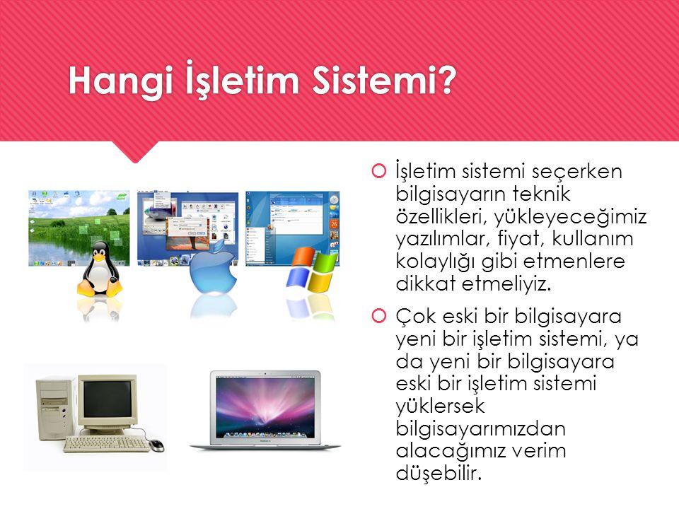 Hangi İşletim Sistemi?  İşletim sistemi seçerken bilgisayarın teknik özellikleri, yükleyeceğimiz yazılımlar, fiyat, kullanım kolaylığı gibi etmenlere