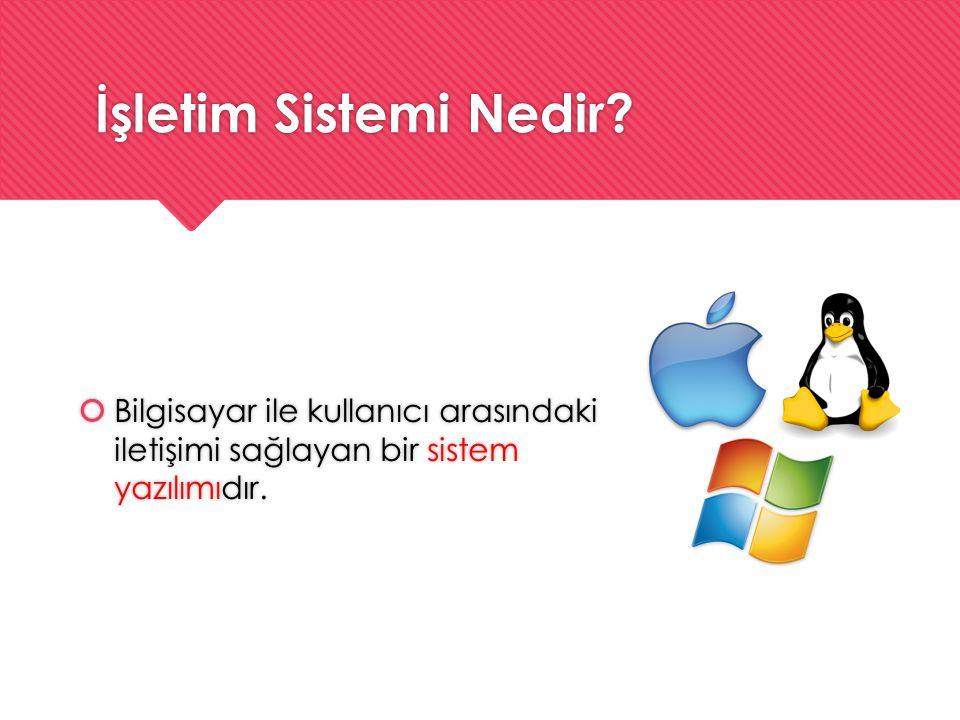 İşletim Sistemi Nedir?  Bilgisayar ile kullanıcı arasındaki iletişimi sağlayan bir sistem yazılımıdır.