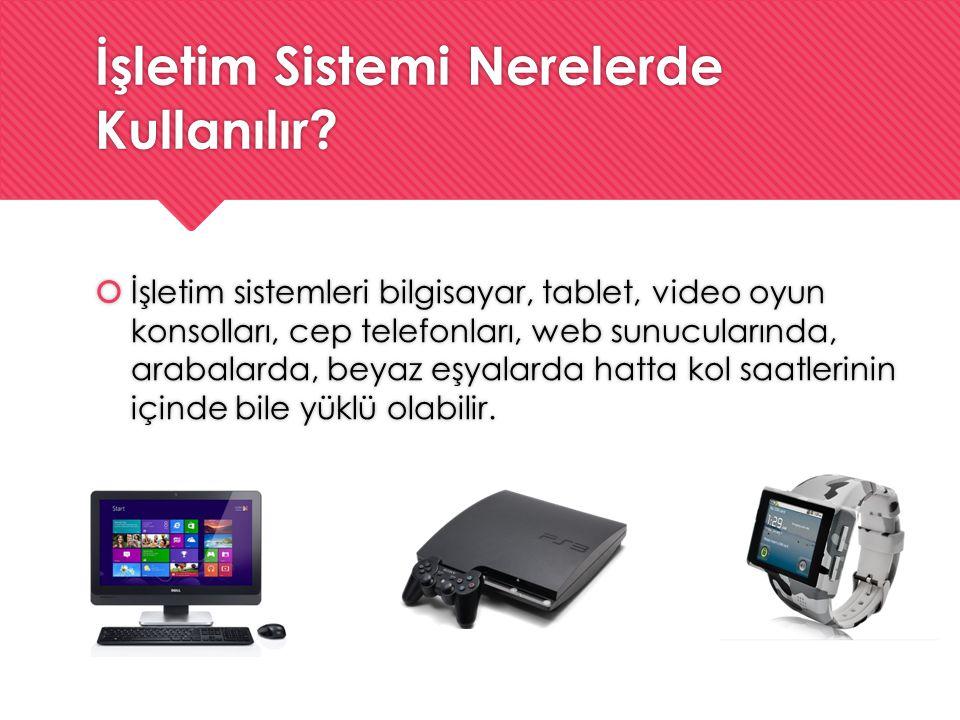 İşletim Sistemi Nerelerde Kullanılır?  İşletim sistemleri bilgisayar, tablet, video oyun konsolları, cep telefonları, web sunucularında, arabalarda,