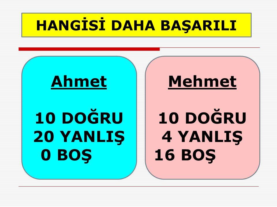 HANGİSİ DAHA BAŞARILI Ahmet 10 DOĞRU 20 YANLIŞ 0 BOŞ Mehmet 10 DOĞRU 4 YANLIŞ 16 BOŞ