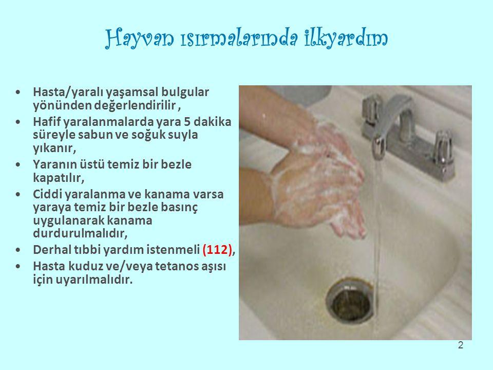 Hayvan ısırmalarında ilkyardım Hasta/yaralı yaşamsal bulgular yönünden değerlendirilir, Hafif yaralanmalarda yara 5 dakika süreyle sabun ve soğuk suyla yıkanır, Yaranın üstü temiz bir bezle kapatılır, Ciddi yaralanma ve kanama varsa yaraya temiz bir bezle basınç uygulanarak kanama durdurulmalıdır, Derhal tıbbi yardım istenmeli (112), Hasta kuduz ve/veya tetanos aşısı için uyarılmalıdır.