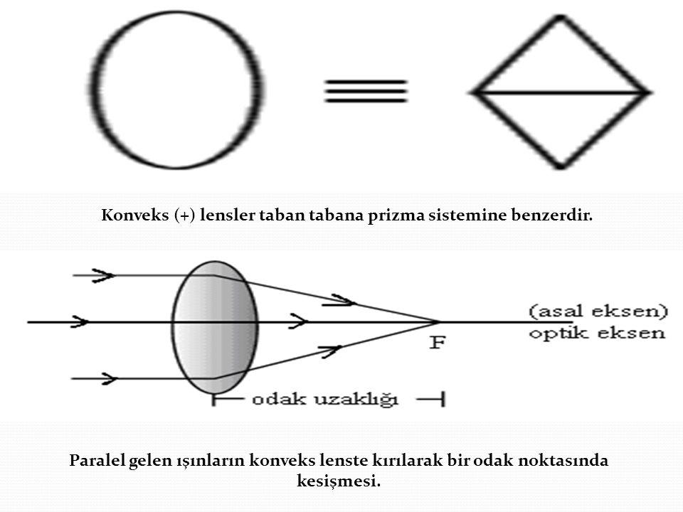 Konveks (+) lensler taban tabana prizma sistemine benzerdir. Paralel gelen ışınların konveks lenste kırılarak bir odak noktasında kesişmesi.