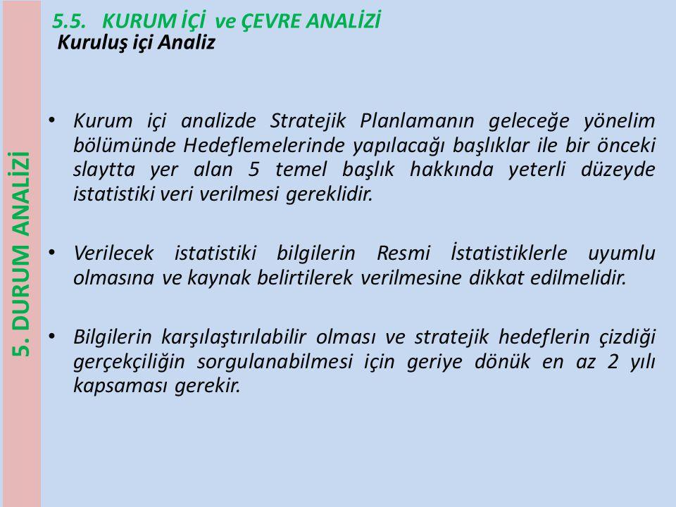 5.5. KURUM İÇİ ve ÇEVRE ANALİZİ Kurum içi analizde Stratejik Planlamanın geleceğe yönelim bölümünde Hedeflemelerinde yapılacağı başlıklar ile bir önce