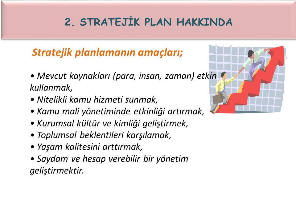 Stratejik planlamanın amaçları; Mevcut kaynakları (para, insan, zaman) etkin kullanmak, Nitelikli kamu hizmeti sunmak, Kamu mali yönetiminde etkinliği