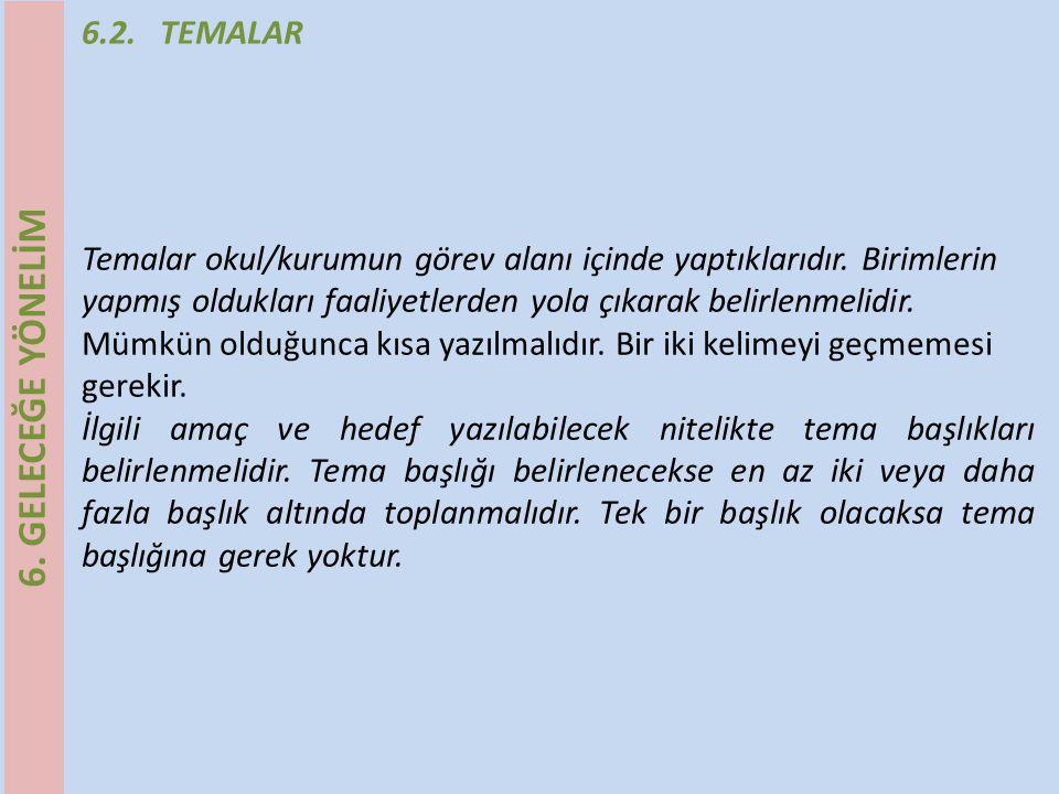 6.2.TEMALAR Tema Başlıkları ATema Başlıkları B 1.Eğitim-Öğretim 2.