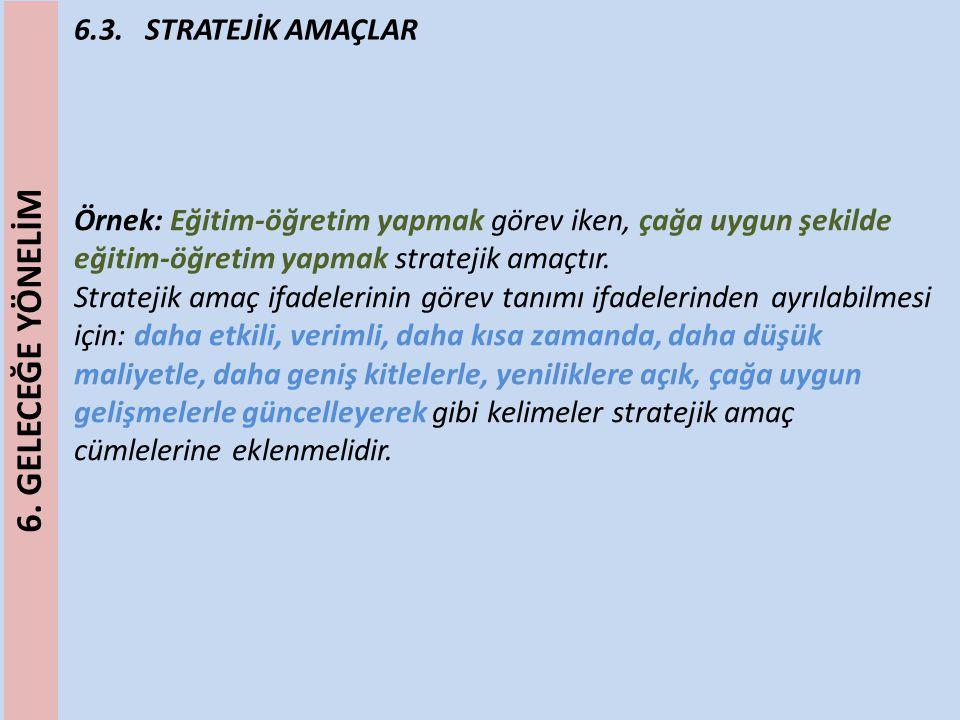 6.3. STRATEJİK AMAÇLAR Örnek: Eğitim-öğretim yapmak görev iken, çağa uygun şekilde eğitim-öğretim yapmak stratejik amaçtır. Stratejik amaç ifadelerini