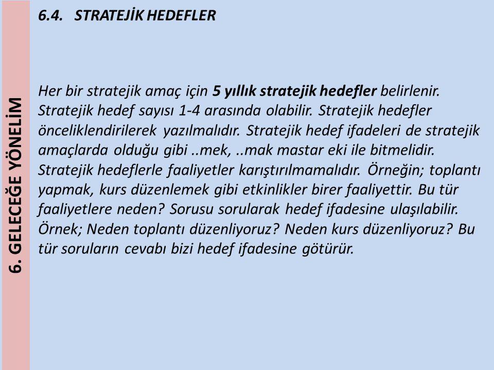 6.4. STRATEJİK HEDEFLER Her bir stratejik amaç için 5 yıllık stratejik hedefler belirlenir. Stratejik hedef sayısı 1-4 arasında olabilir. Stratejik he