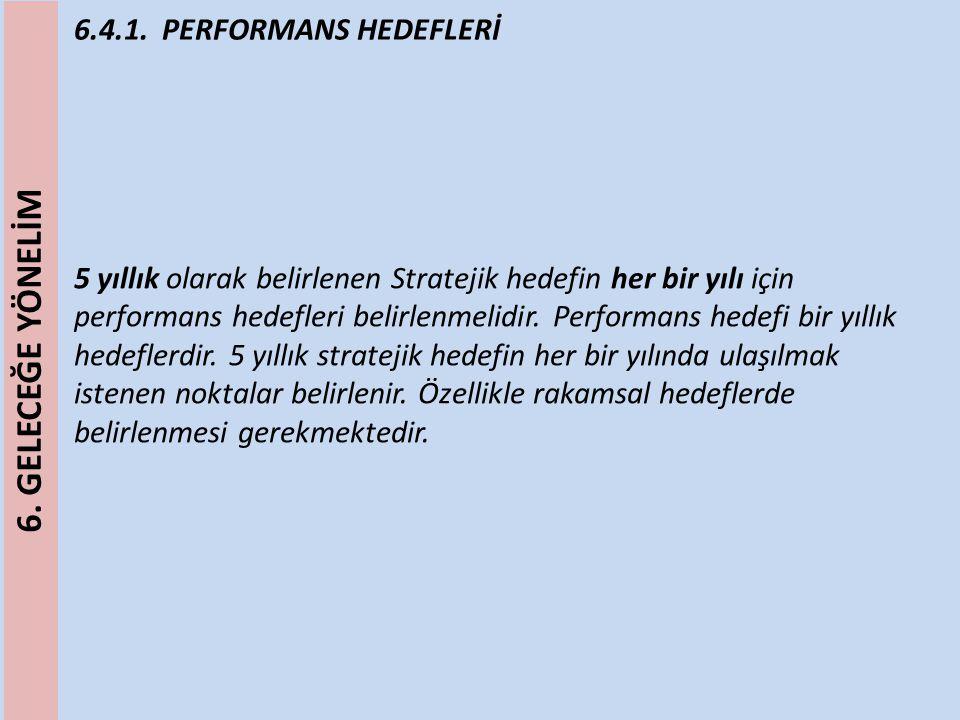 6.4.1. PERFORMANS HEDEFLERİ 5 yıllık olarak belirlenen Stratejik hedefin her bir yılı için performans hedefleri belirlenmelidir. Performans hedefi bir