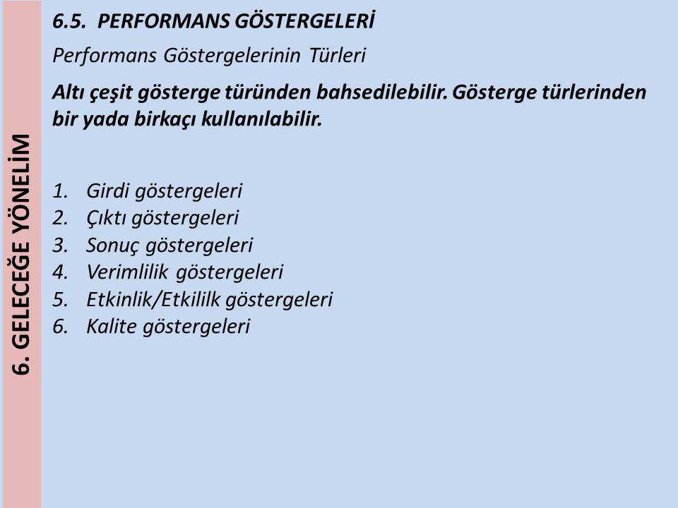 6.5. PERFORMANS GÖSTERGELERİ Performans Göstergelerinin Türleri Altı çeşit gösterge türünden bahsedilebilir. Gösterge türlerinden bir yada birkaçı kul