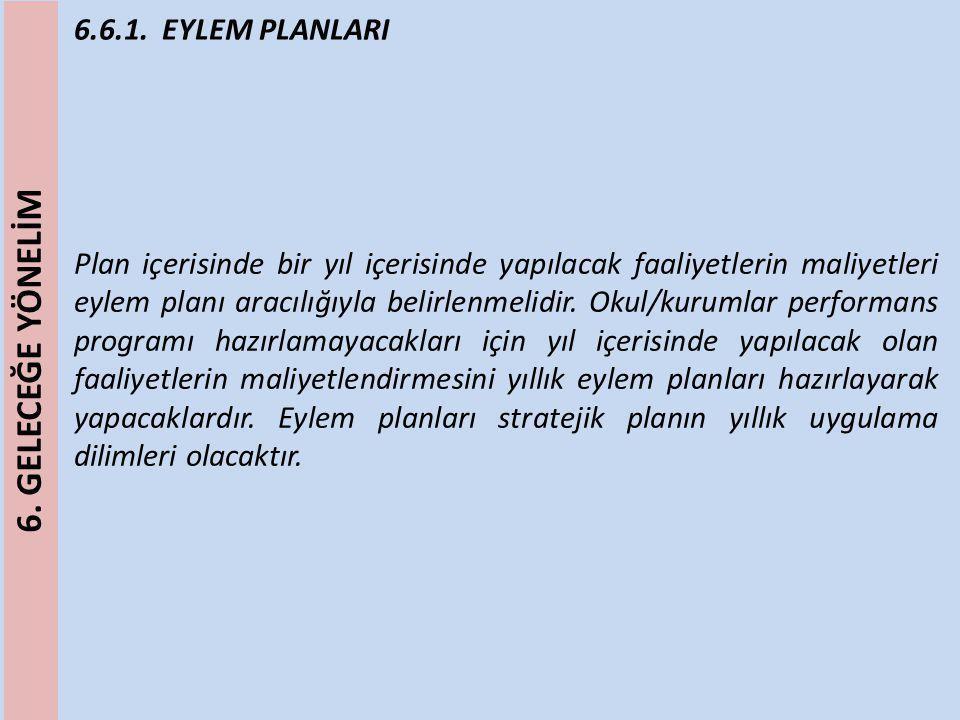 6.6.1. EYLEM PLANLARI Plan içerisinde bir yıl içerisinde yapılacak faaliyetlerin maliyetleri eylem planı aracılığıyla belirlenmelidir. Okul/kurumlar p