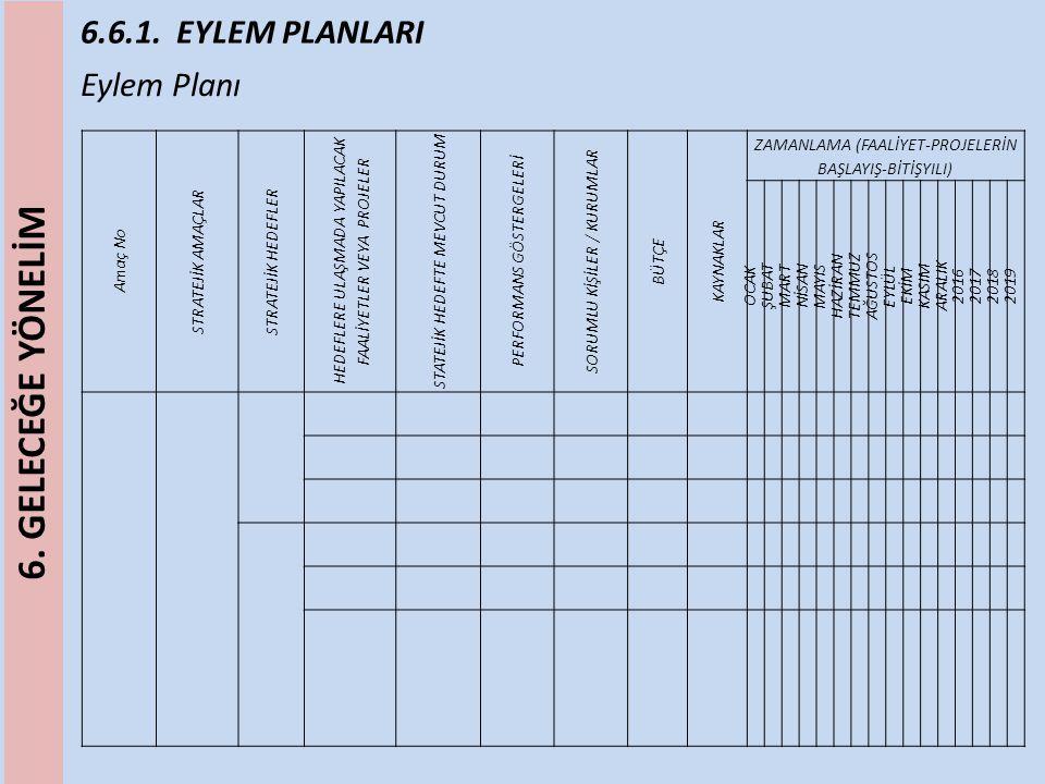 6.6.1.EYLEM PLANLARI Tahmini Maliyet Tablosu Stratejik Amaç/Hedef No Planın 1.