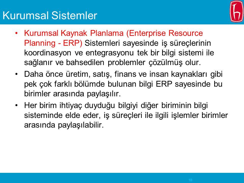 18 Kurumsal Sistemler Kurumsal Kaynak Planlama (Enterprise Resource Planning - ERP) Sistemleri sayesinde iş süreçlerinin koordinasyon ve entegrasyonu tek bir bilgi sistemi ile sağlanır ve bahsedilen problemler çözülmüş olur.