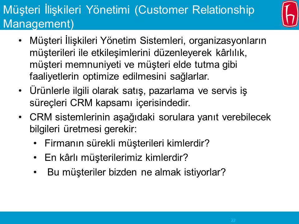 22 Müşteri İlişkileri Yönetimi (Customer Relationship Management) Müşteri İlişkileri Yönetim Sistemleri, organizasyonların müşterileri ile etkileşimlerini düzenleyerek kârlılık, müşteri memnuniyeti ve müşteri elde tutma gibi faaliyetlerin optimize edilmesini sağlarlar.