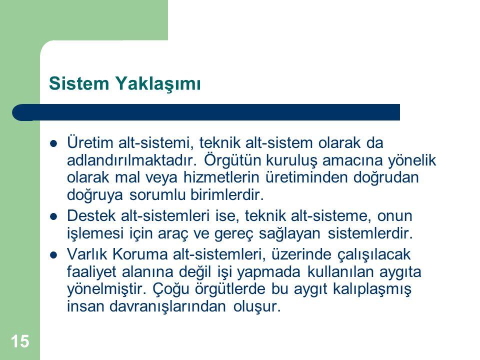 15 Sistem Yaklaşımı Üretim alt-sistemi, teknik alt-sistem olarak da adlandırılmaktadır.