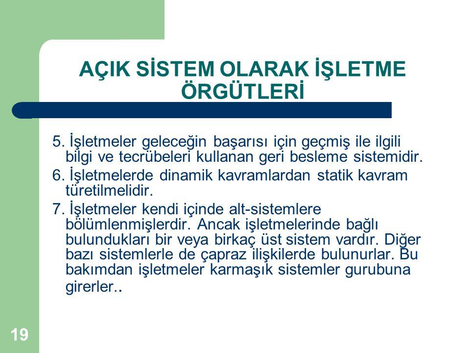 19 AÇIK SİSTEM OLARAK İŞLETME ÖRGÜTLERİ 5.