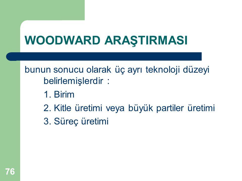 76 WOODWARD ARAŞTIRMASI bunun sonucu olarak üç ayrı teknoloji düzeyi belirlemişlerdir : 1.