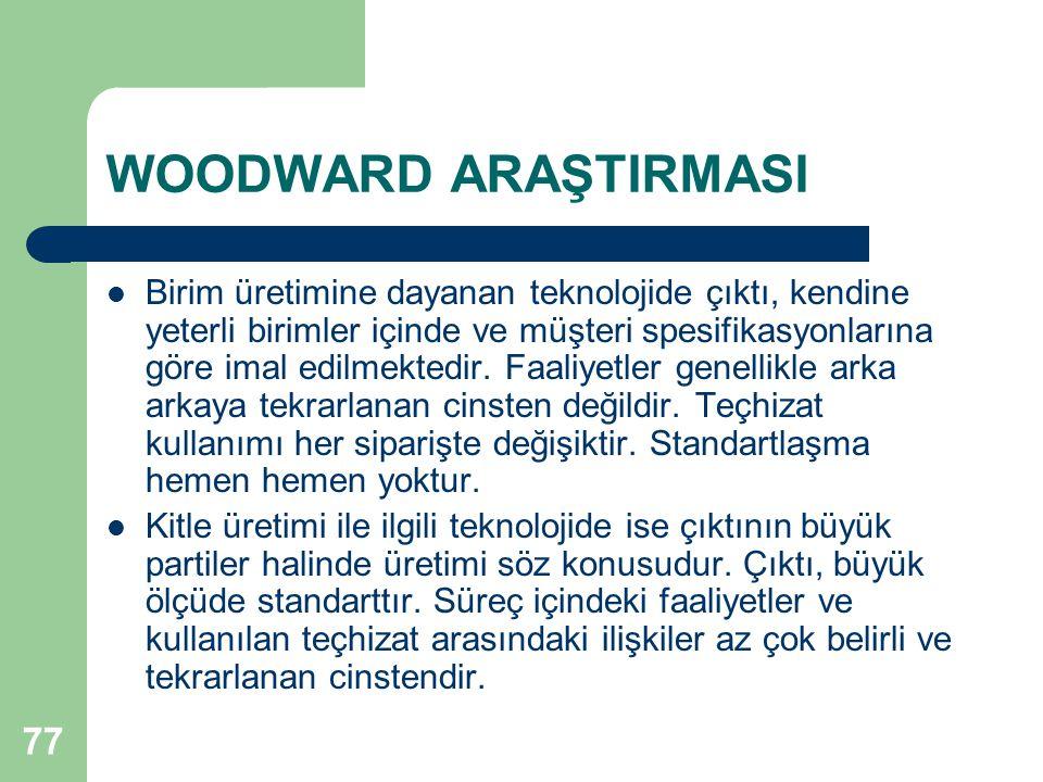 77 WOODWARD ARAŞTIRMASI Birim üretimine dayanan teknolojide çıktı, kendine yeterli birimler içinde ve müşteri spesifikasyonlarına göre imal edilmektedir.