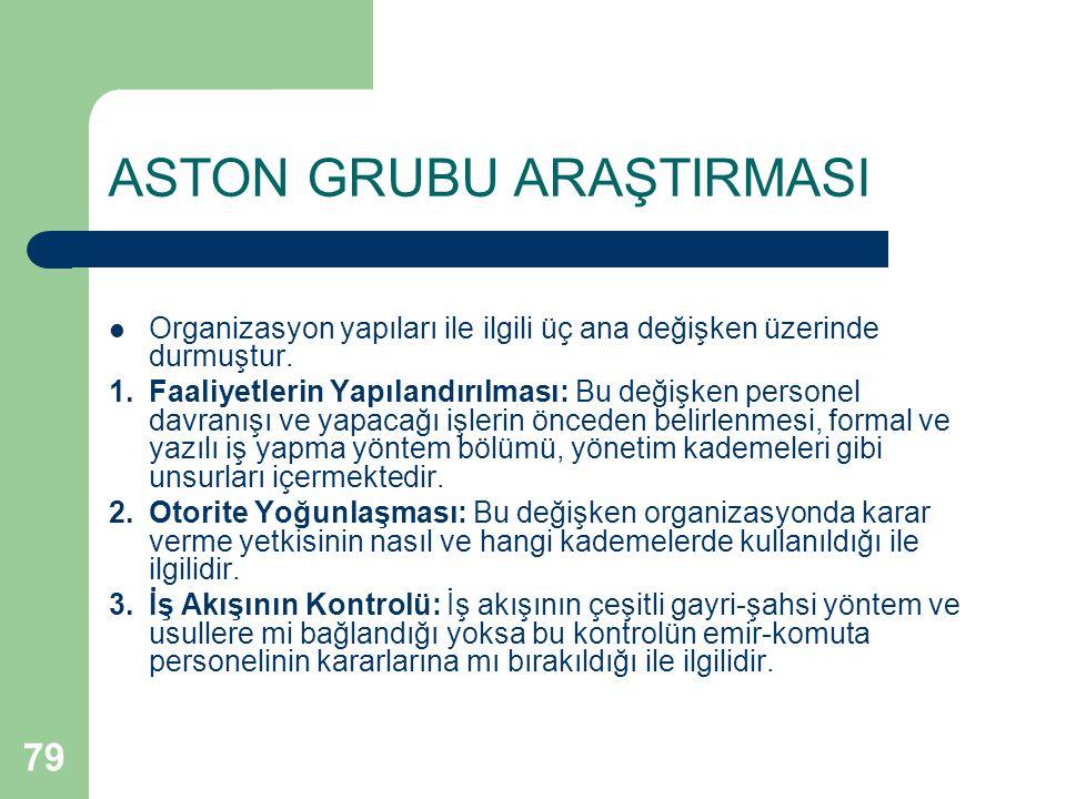 79 ASTON GRUBU ARAŞTIRMASI Organizasyon yapıları ile ilgili üç ana değişken üzerinde durmuştur.